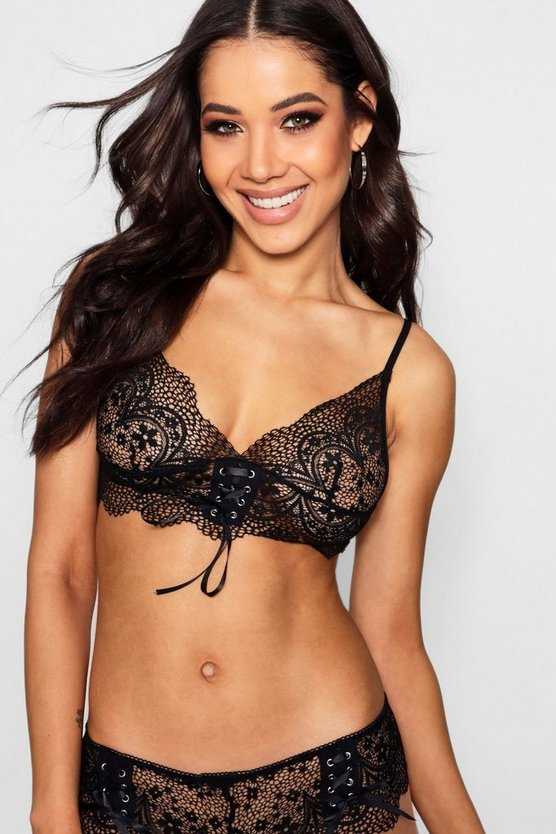 Ribbon Tie Up Lace Bralet