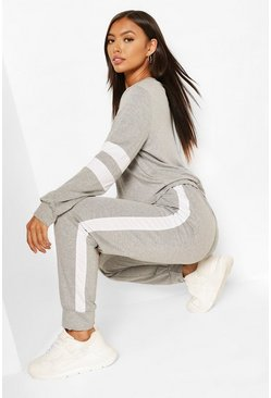 Womens Grey Stripe Detail Lounge Set