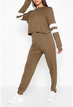 Womens Khaki Stripe Detail Lounge Set