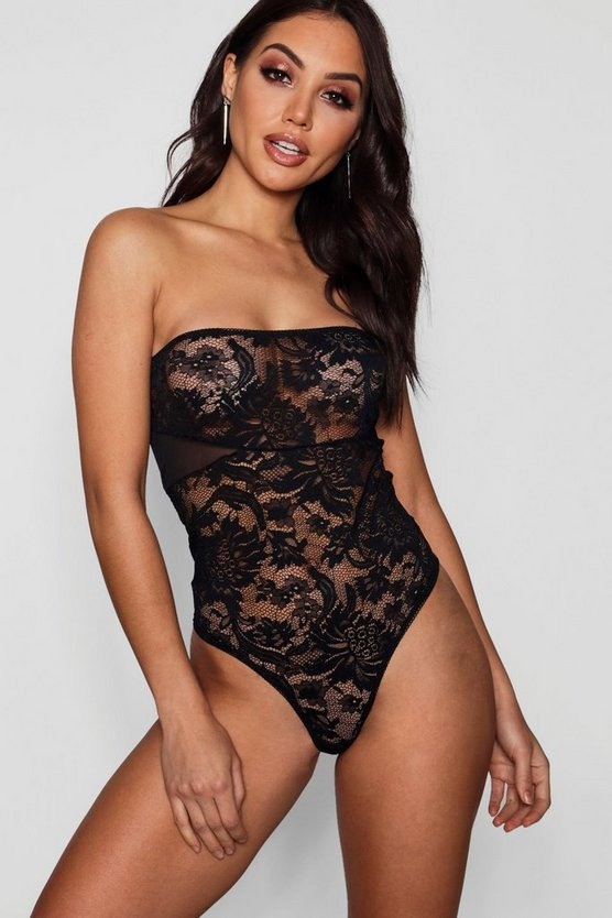 Womens Black Bandeau Body