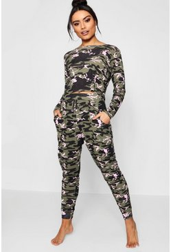Womens Khaki Camo Print Lounge Set