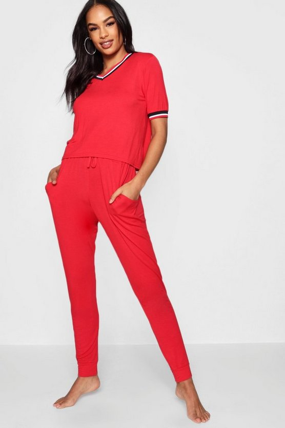 Womens Red Sports Rib T-Shirt & Jogger Set