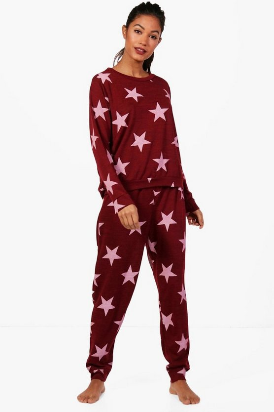 Womens Wine Alice Star Print Sweat & Jogger Set