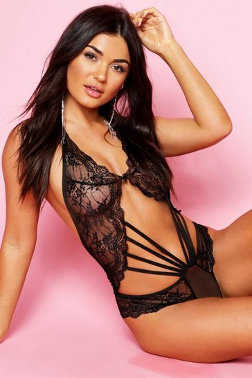 Womens Black Strapping Lace Body
