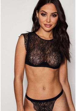 Womens Black High Neck Lace Bralet