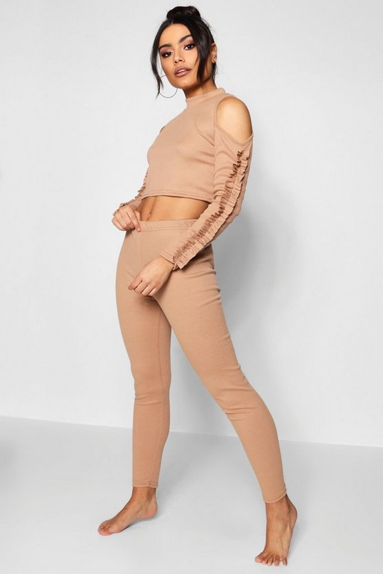 Ribbed Cold Shoulder & Ruffle Legging Set