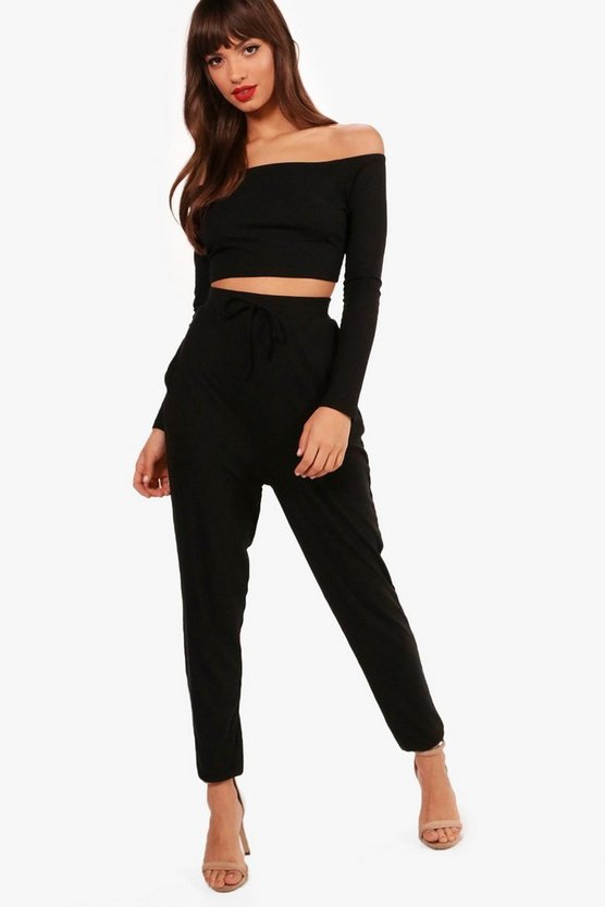 Alexis Ribbed Bardot Top & Jogger Set