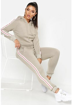 Grey Athleisure Sports Tape Hooded Tracksuit