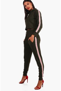 Athleisure Sports Tape Hooded Tracksuit, Khaki, Donna