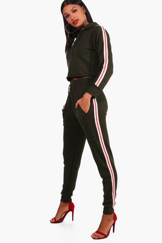 Womens Athleisure Sports Tape Hooded Tracksuit