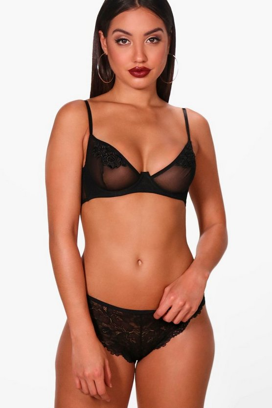 Mesh & Applique Underwire Bra