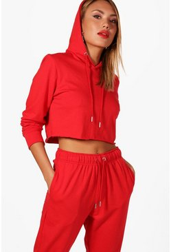 Womens Red Athleisure Cropped Hoodie