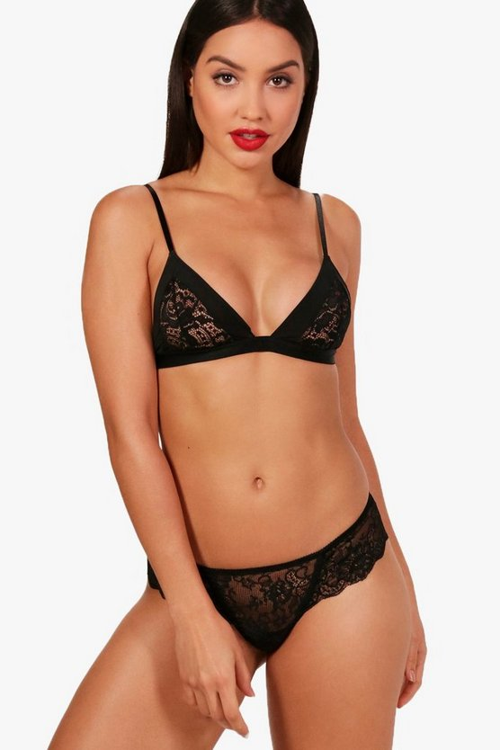 Womens Black Ellie Lace & Satin Bralet