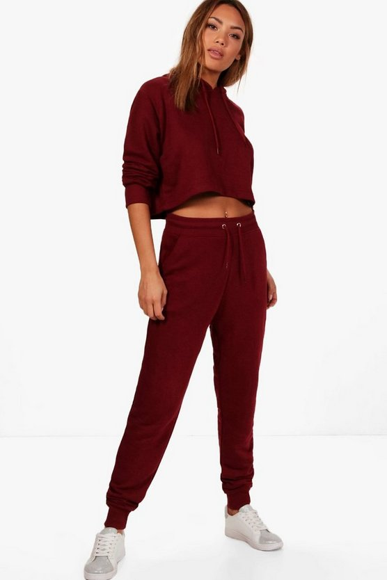 Womens Burgundy Crop Hoodie & Jogger Set