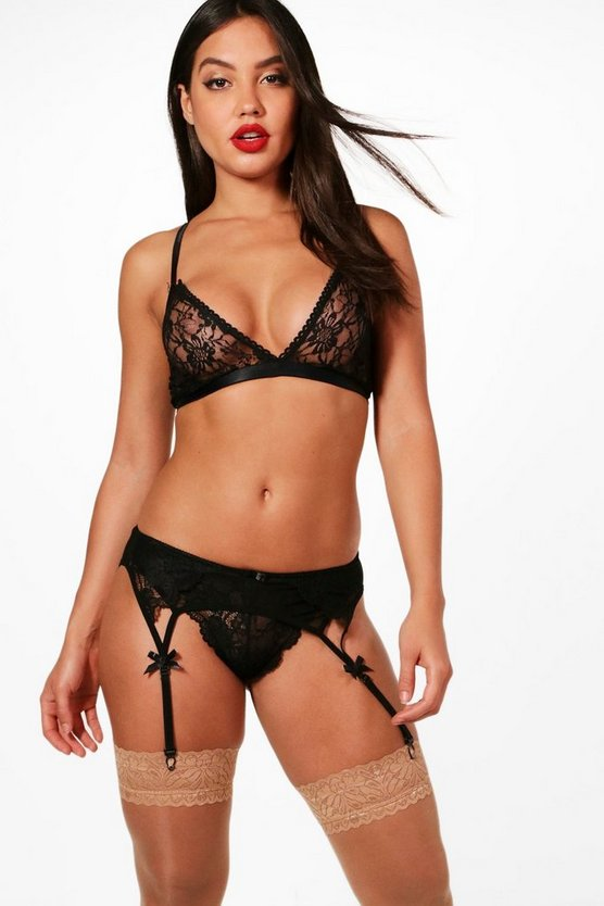 Lola Suspender & String Set, Black, Donna
