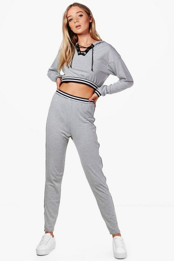 Alexia Athleisure Lace Up Sports Stripe Tracksuit