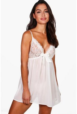 Womens White Tilly Lace & Bow Detail Babydoll