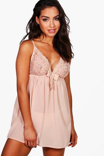Womens Nude Lace & Bow Detail Babydoll