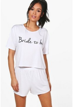 Ensemble short et t-shirt bride to be, Blanc, Femme