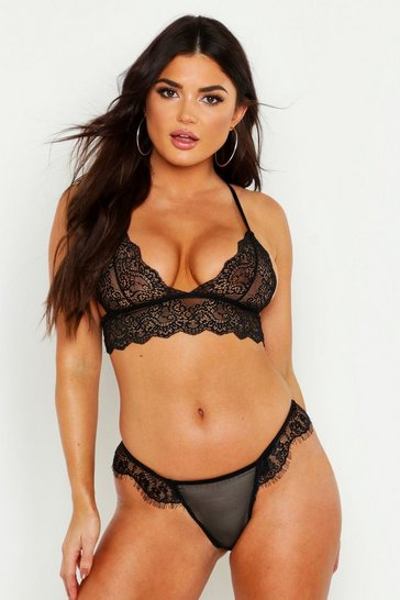 Womens Black Scallop Lace Longline Bralet