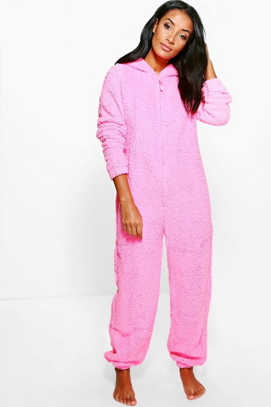 Amy Pink Polar Bear Fleece Onesie