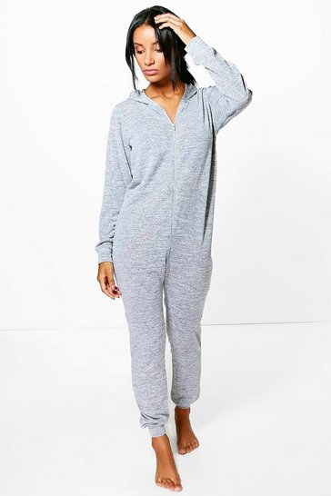 Womens Grey marl Freya Knitted Zip Front Hooded Onesie