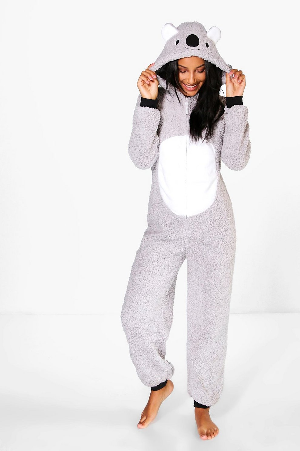 89c10c1368 Emma Koala Hood Zip Up Fleece Onesie | Boohoo