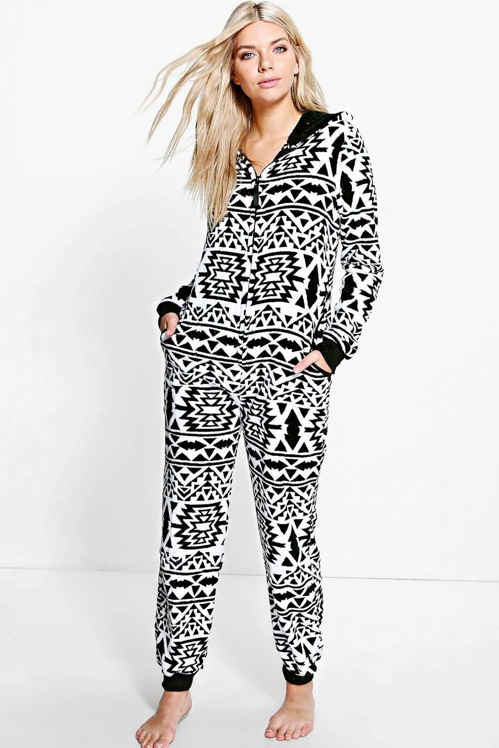 73768608f2 Sarah Aztec Hooded Zip Up Fleece Onesie | Boohoo
