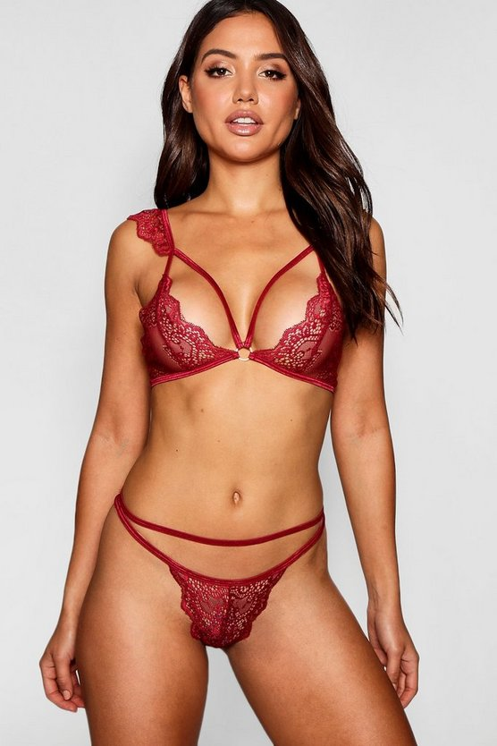 Womens Red Strap Detail Pretty Lace Bralet & Brief Set