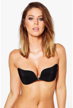 Womens Black Stick On Strapless Bra