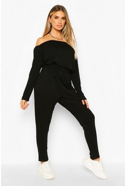 Womens Black Bardot Tie Waist Jumpsuit