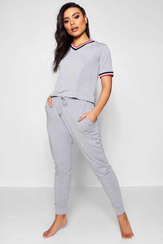Womens Grey marl Sports Rib Detail Tshirt And Jogger Set