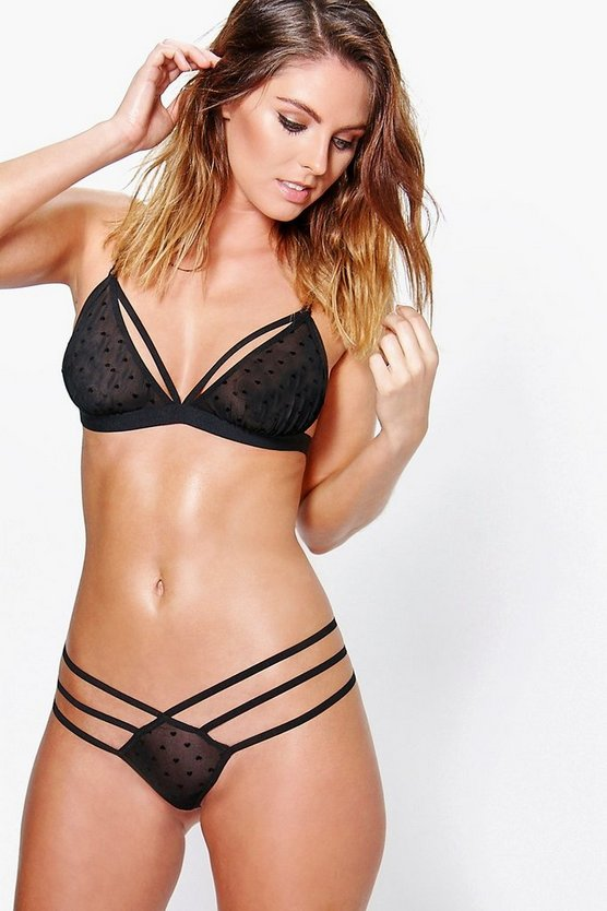 Multi Strap Black Heart Mesh Thong
