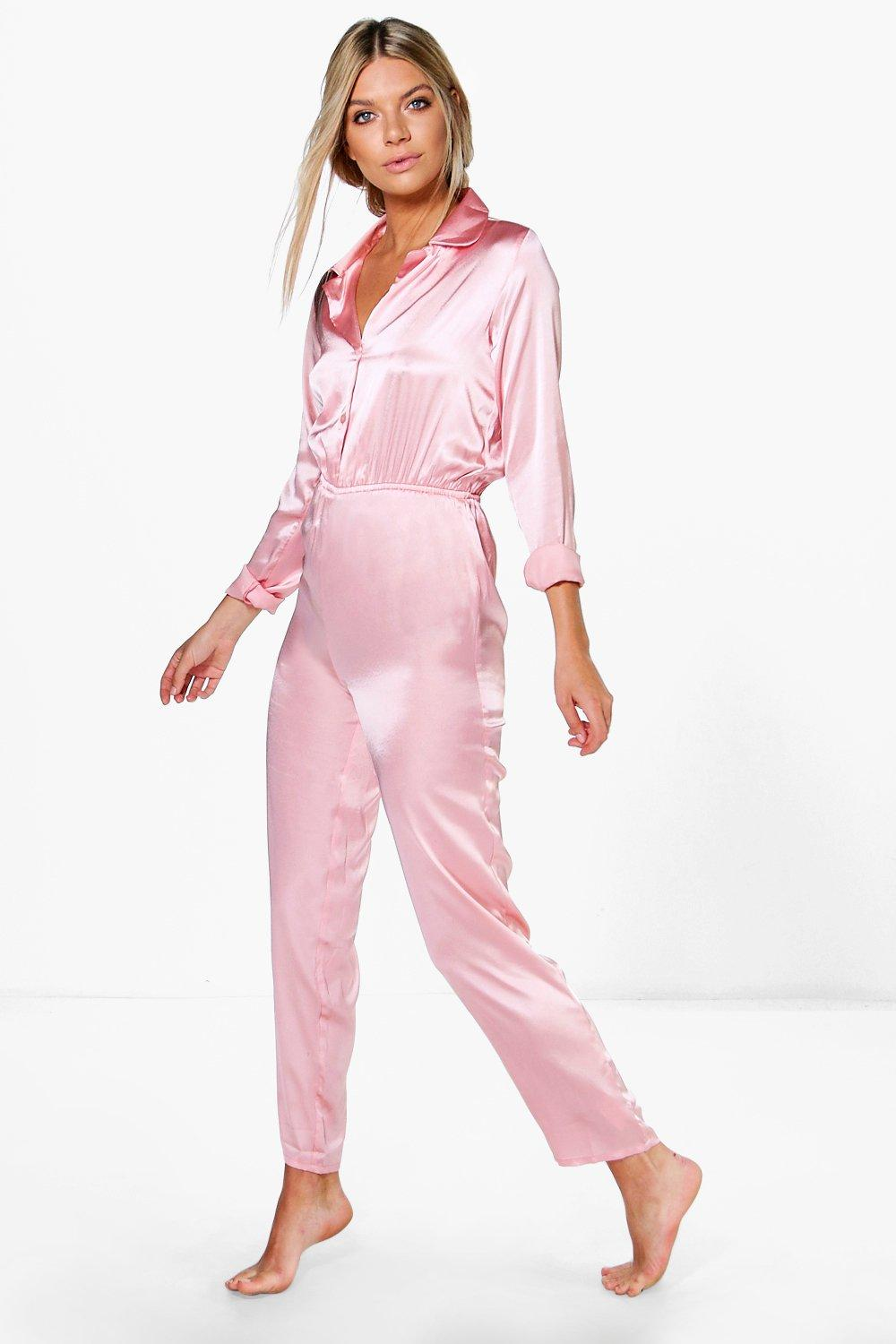 6c8b807fec76 Keira Long Sleeve Satin Lounge Jumpsuit. Hover to zoom