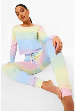 Womens Multi Ombre Long Sleeve And Jogger Lounge set