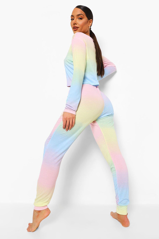top manga de con y de deporte Multicolor Conjunto pantalones larga cómodo bardot estilo qYynvp