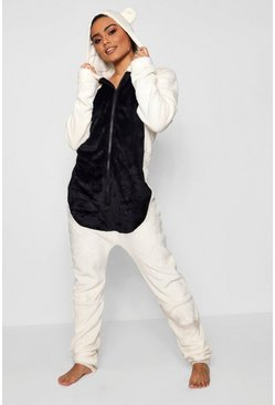 Womens Cream Fleece Animal Ear Onesie