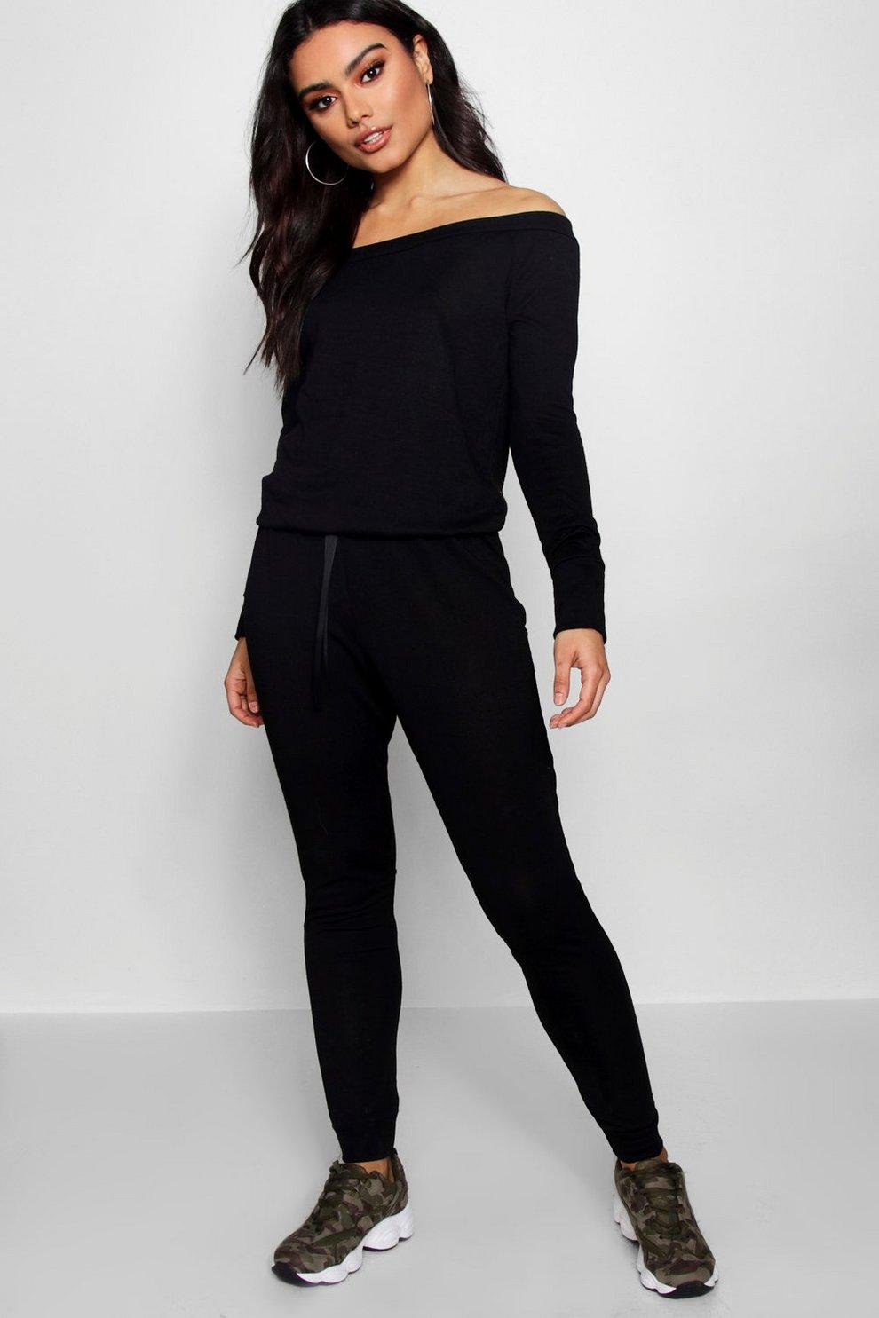 ee0127b1834e Slash Neck Long Sleeve Lounge Jumpsuit
