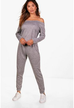 Womens Grey marl Slash Neck Long Sleeve Lounge Jumpsuit