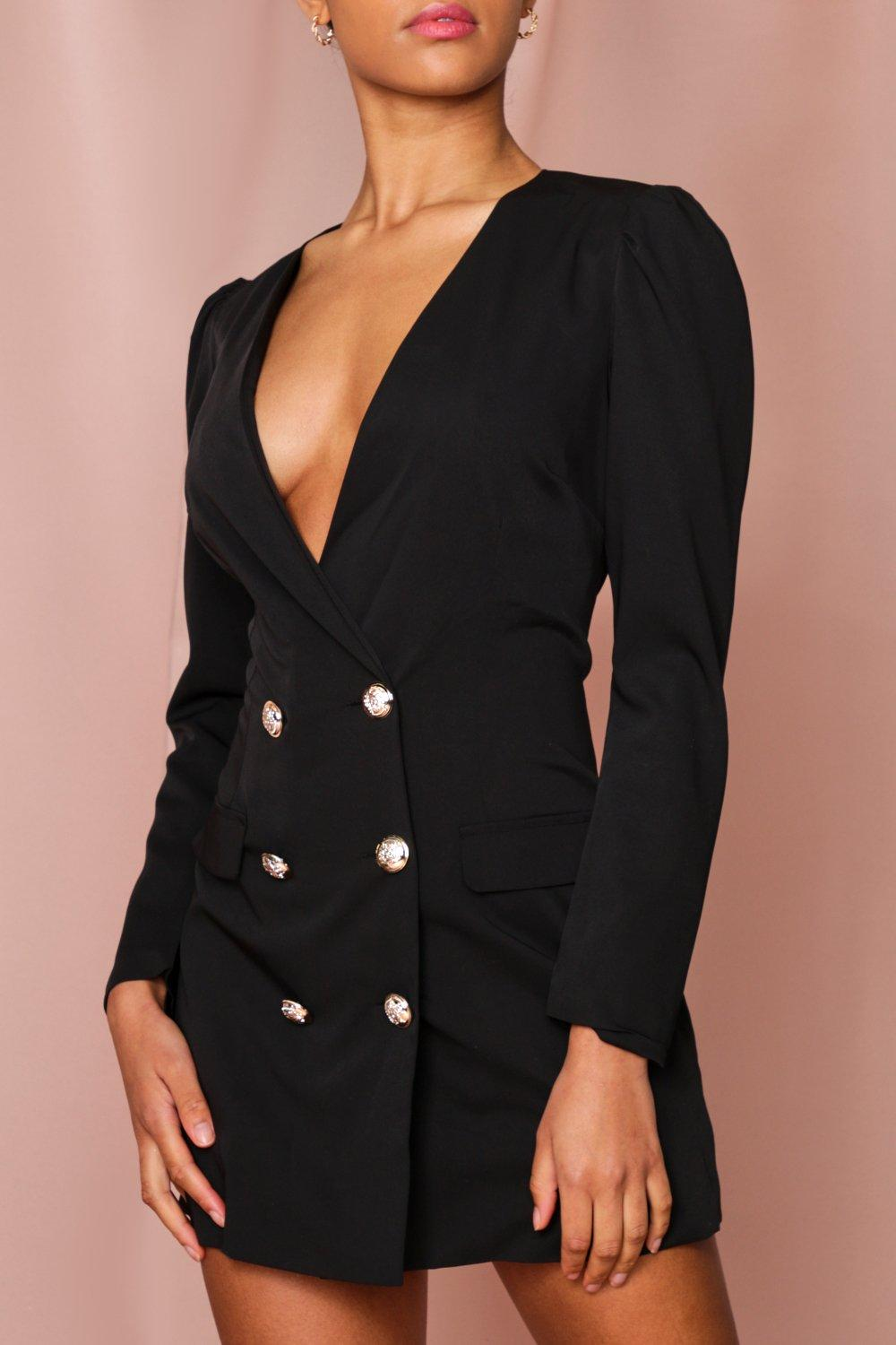 womens double breasted plunge blazer dress - black - 8, black