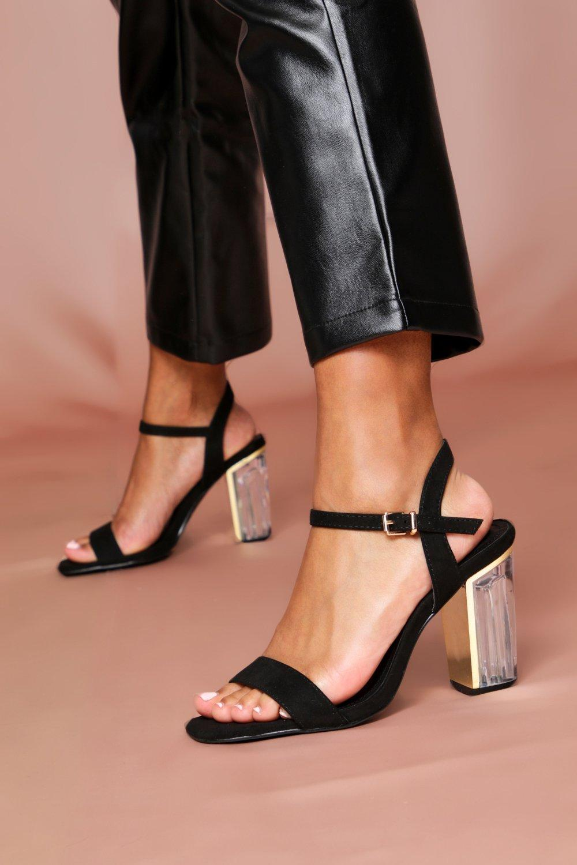 Womens Clear Heel Ankle Strap Heels - black - 3, Black