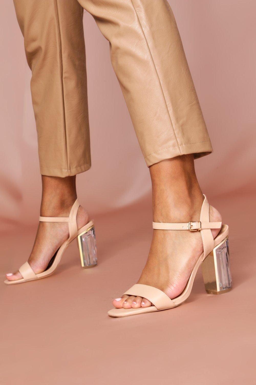 Womens Clear Heel Ankle Strap Heels - nude - 7, Nude