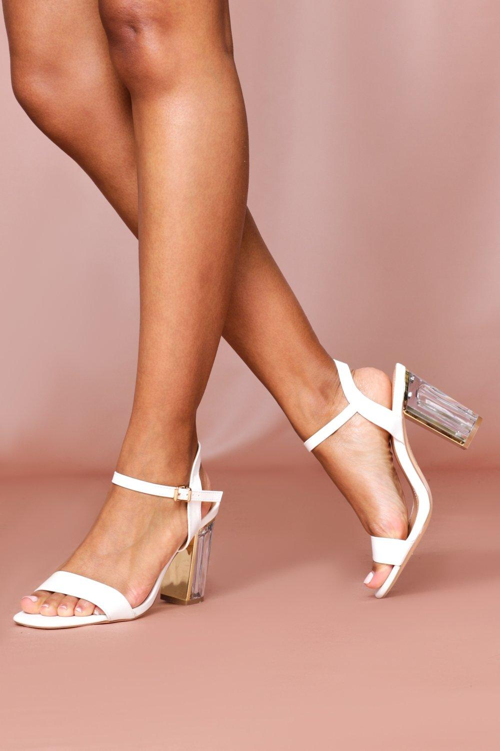 Womens Clear Heel Ankle Strap Heels - white - 4, White