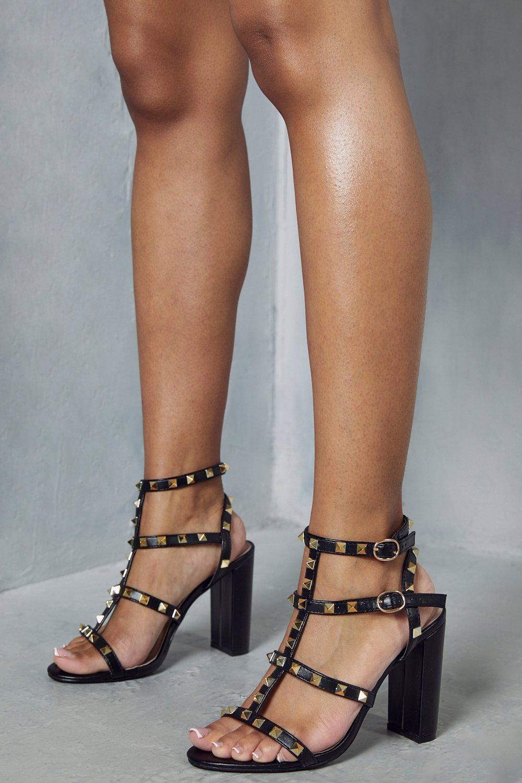 Womens Block Heel Studded Strappy Heels - black - 7, Black