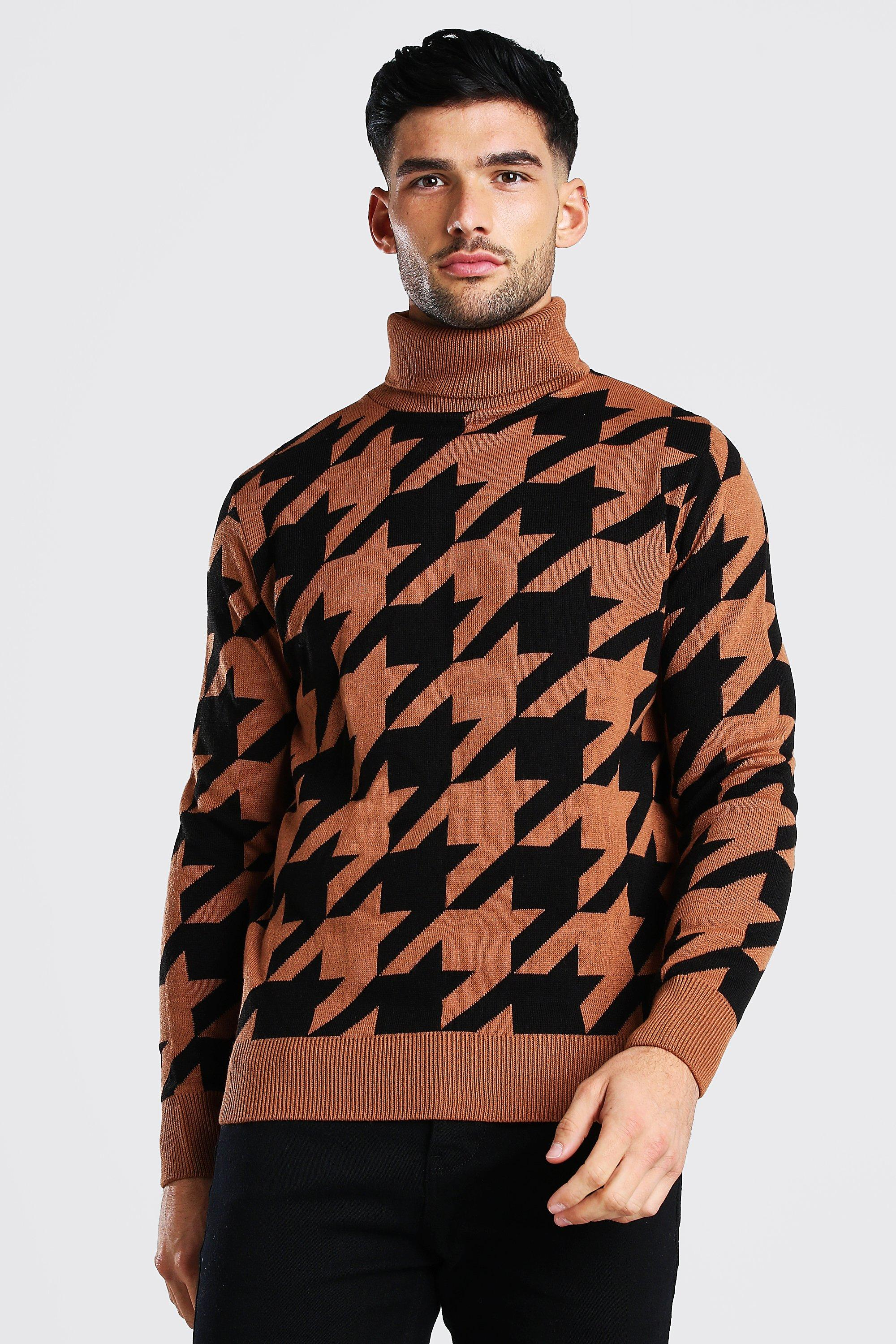 60s 70s Men's Jackets & Sweaters Mens Dogtooth Roll Neck Chunky Sweater - Orange $19.20 AT vintagedancer.com