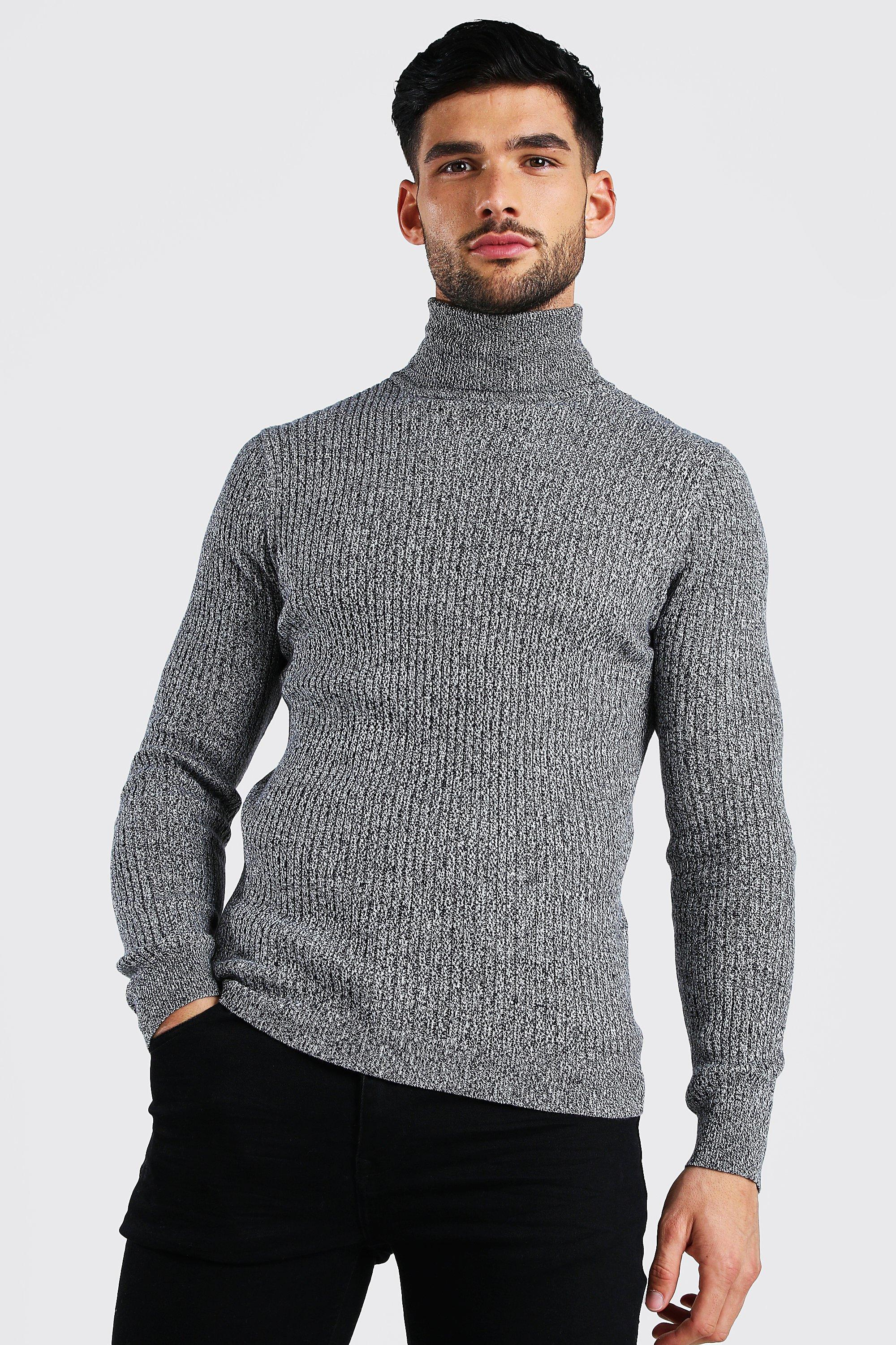 1940s UK and Europe Men's Clothing – WW2, Swing Dance, Goodwin Mens Regular Fit Ribbed Roll Neck Sweater - Grey $18.00 AT vintagedancer.com