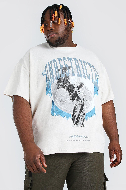 mens plus size angel overdye loose fit t-shirt - cream