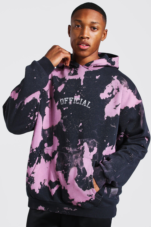 mens oversized skull back print tie dye hoodie - pink