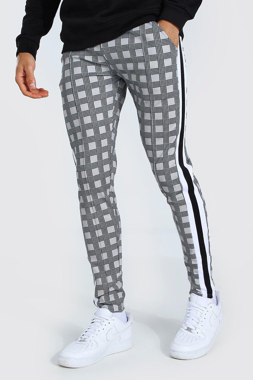 mens grey man scuba check jogger with panels, grey