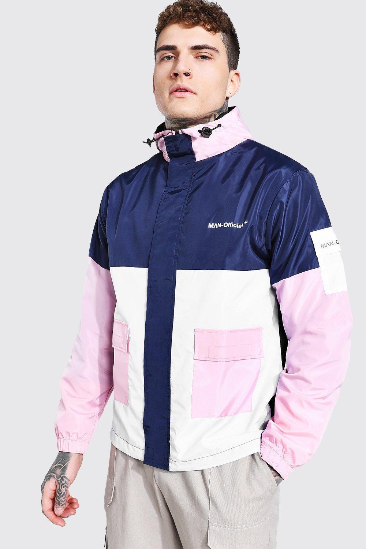 80s Windbreakers, Jackets, Coats Mens Colour Block Man Branded Front Pocket Cagoule - Pink $24.00 AT vintagedancer.com